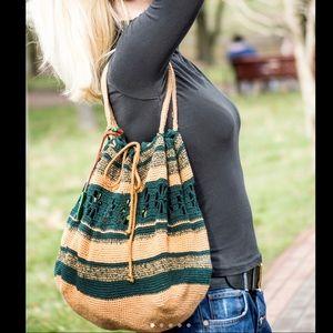 Handbags - Bohemian Green/Brown Hand Crocheted Bag, NWOT